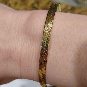"14-karat gold yellow 7"" bracelet, herringbone"